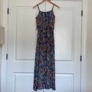 Blue and orange paisley maxi dress